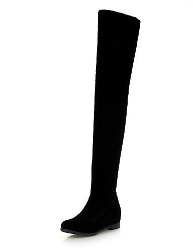 Negro Cuñas Xzz Uk6 La Cn39 Cn36 Black Punta Eu36 Mujer Botas Black Tacón Uk4 Casual Zapatos Eu39 De us8 Moda Cuña Redonda Vestido A Vellón us6 rqHWXqZFvw