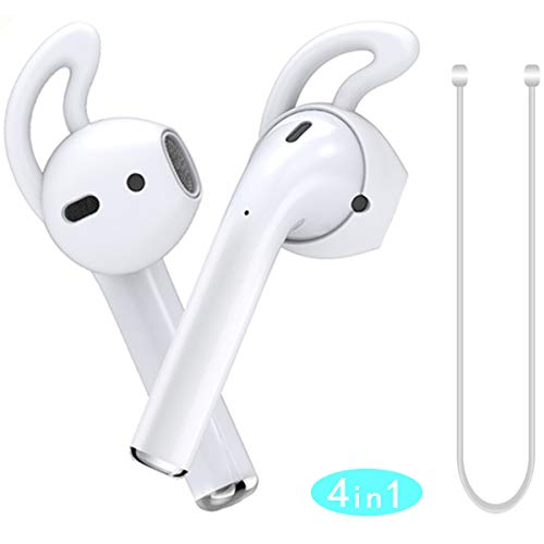 MRPLUM Ear Hooks AirPod Silicone Earbuds Covers Accessories Anti-Slip Earbuds Tips with Strap Compatible with Apple AirPods 1 & 2 or EarPods Headphone Earphone 3 Pairs (White) ()