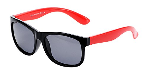 BOZEVON Unisexe Polarisées Lunettes de Soleil pour Enfants Garçons Filles Rectangle Monture en caoutchouc flexible Sport Lunettes Noir/Rouge