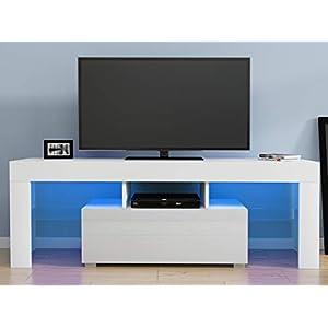 Anaelle Pandamoto LED Meuble TV en Verre sur Salle de Séjour, Salon et Chambre à Coucher etc, Taile: 130*35*45cm, Poids…