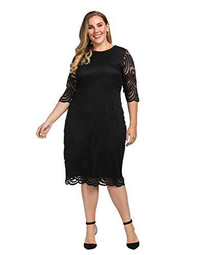 Chicwe Women's Plus Size Lined Elegant Shift Dress with Scalloped Lace Hem & Cuff Black 2X