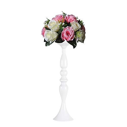 (Sziqiqi 3 Colors 50cm Height Metal Candle Holder Candle Stand Wedding Centerpiece Event Road Lead Flower Rack (White))