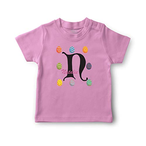 Personalized Custom Easter Eggs N Cotton Short Sleeve Crewneck Boys-Girls Toddler T-Shirt Jersey - Soft Pink, 2T
