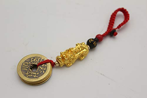 Obsidian Mantra Bead Gold Metal Dragon Pi Xiu Pi Yao 5 Emperor Coins Hangbag Charm Feng Shui Hanging Ornament