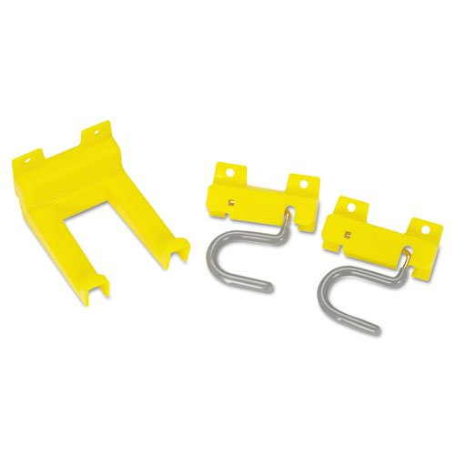 Rubbermaid Commercial Closet Organizer and Tool Holder Kit, 3 1/4w x 4 1/4d x 4-1/4h, Yellow - Includes one kit containing two S-hooks, one double hook and one clip holder/mounting strip.