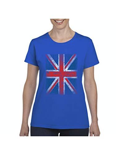 British Flag Union Jack Distressed Women's Short Sleeve T-Shirt (3XLRB) Royal Blue ()