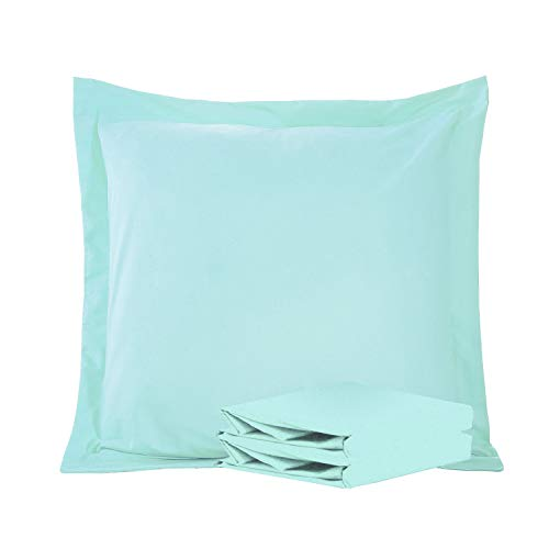 (NTBAY 100% Brushed Microfiber Pillow Shams Set of 2, Soft and Cozy, Wrinkle, Fade, Stain Resistant (Light Blue, Euro 26