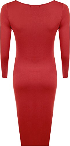 uni midi Tailles 54 44 manches WearAll Femmes Grande longues Rouge avec robe taille serr Robes pxqnRnEHCw