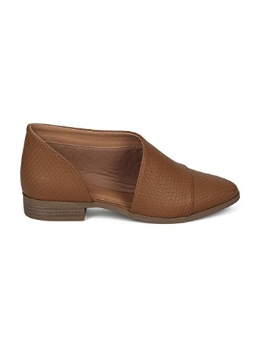 Extreme Alrisco Ankle HD47 Pointy Leatherette Toe Cut Out Snake Camel Bootie Women wIxIAZqSfg