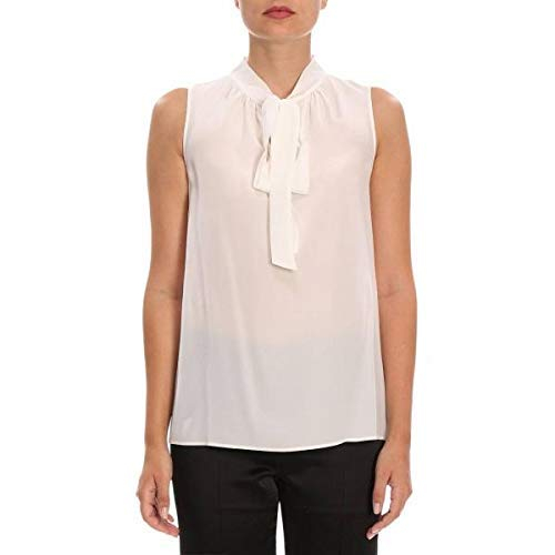 Maniche Collo Senza Bianco Moschino Con 0216 Donna Pura Seta 6137 2 44 Boutique In Top Foulard Tg xqtgHI
