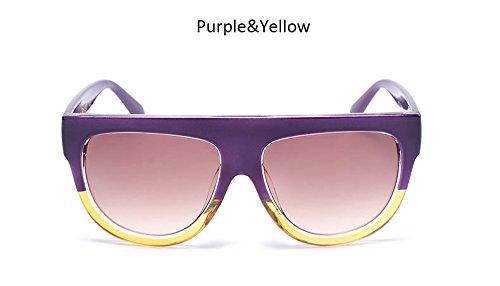 Señoras remache hembra Bastidor Blueredgray sol Purpleyellowbrown de Top Womenr Flat tonos sobredimensionado de Moda Gafas sol grande Vintage Gafas ZHANGYUSEN UV400 de a6d7Ba