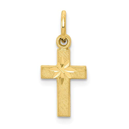 10k Yellow Gold Cross Religious Pendant Charm Necklace Latin Fine Jewelry Gifts For Women For Her -