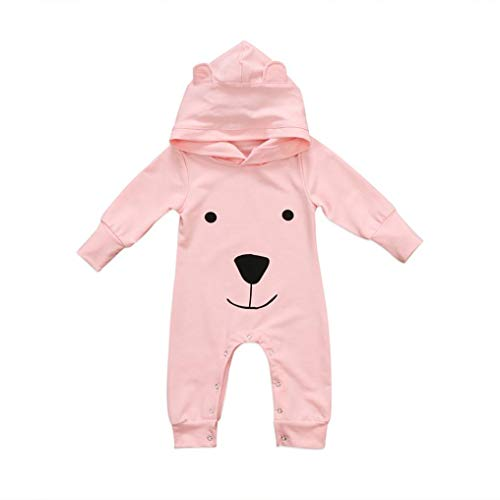 irl Boy Cute Teddy Bear Styling Hoodies Cotton Pajamas Long Sleeve Romper Bodysuit Spring Autumn Pjs (Pink, 6-12 Months) ()