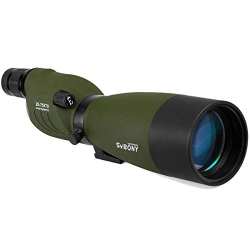 SVBONY SV17 Spotting Scope 25-75x70mm Zoom Telescope Bak4 Waterproof for Bird Watching Target Shooting Archery Range with Soft Case(without tripod)
