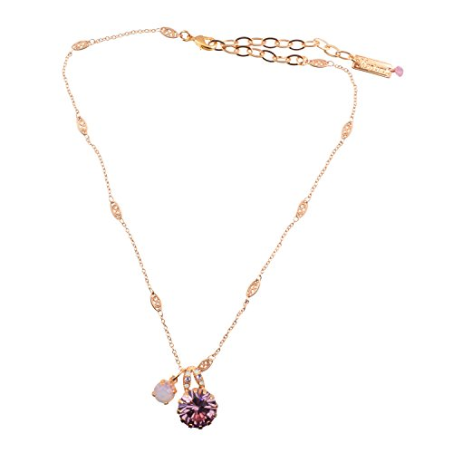 Mariana 24k Rose Gold Plated Light Purple Swarovski Crystal Solitaire Necklace