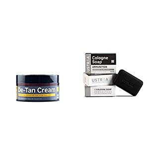 Ustraa De-Tan Cream for Men (50g) And Ustraa Ammunition Cologne Soap With Charcoal And Bay Leaf, 125g (Pack Of 3)