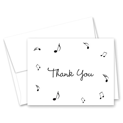 50 Music Notes Thank You Cards (Black)