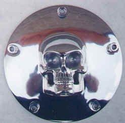 Motorcycle Derby Cover - Skull Enterprises 3315 Skull Motorcycle Derby Cover- Skull - Twin Cam - 5 Hole (Silver)