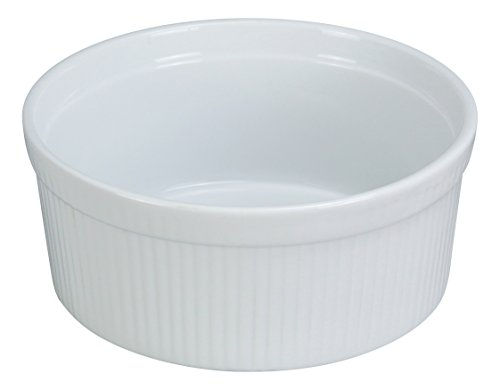 Yanco SF-112 Souffle Bowl, Fluted, 12 oz Capacity, 4.5'' Diameter, 2.25'' Height, Porcelain, Super White, Pack of 24 by Yanco