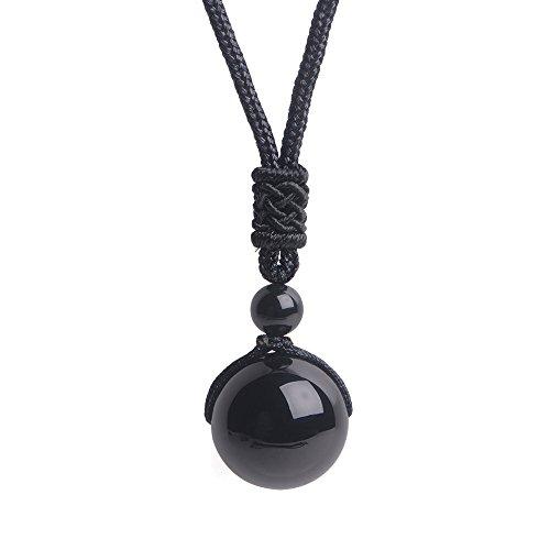 iSTONE Unisex Genuine Round Gemstone Beads Pendant Necklace Black Rope Chain 25 inch (Black Agate)
