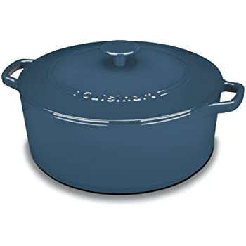 Cuisinart CI670-30BG Chef's Classic Enameled Cast Iron 7-Quart Round Covered Casserole, Provencal Blue