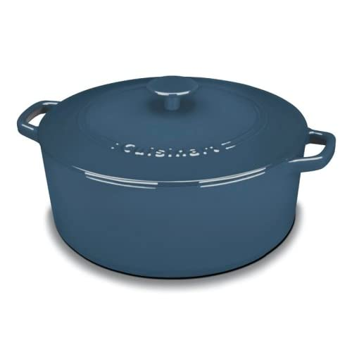 Cuisinart CI670-30BG Chef's Classic Enameled Cast Iron 7-Quart Round Covered Casserole, Provencal Blue
