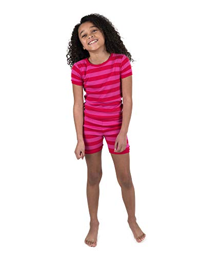 Leveret Shorts Pajamas Girls 2 Piece Pajamas Set 100% Cotton (Red/Pink,Size 8 Years)