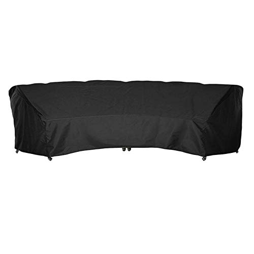 Outdoor Crescent Curved Sofa Cover with Seam Taped and Drawstring, Waterproof Dust-Proof Patio Furniture Half-Moon Sectional Sofa Set Protector, Lightweight, All Weather Protection (Half Moon Patio Furniture)