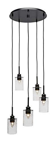Toltec Lighting 1175-ES-300 Edge - Five Light Mini Pendant, Espresso Finish with Clear Bubble Glass ()