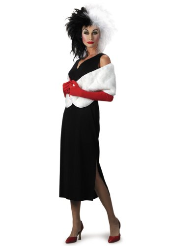 Disguise Adult 101 Dalmatians Disney Cruella De Vil Costume, Black/White, Large (12-14)
