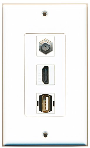 RiteAV - 1 Port HDMI and 1 Port Coax Cable TV- F-Type and 1 Port USB A-A Decorative Wall Plate