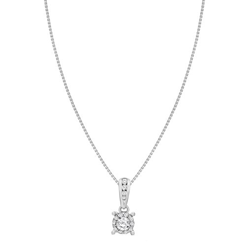 Pave Prive femme  9 carats (375/1000)  Or blanc|#Gold Rond   Transparent Diamant