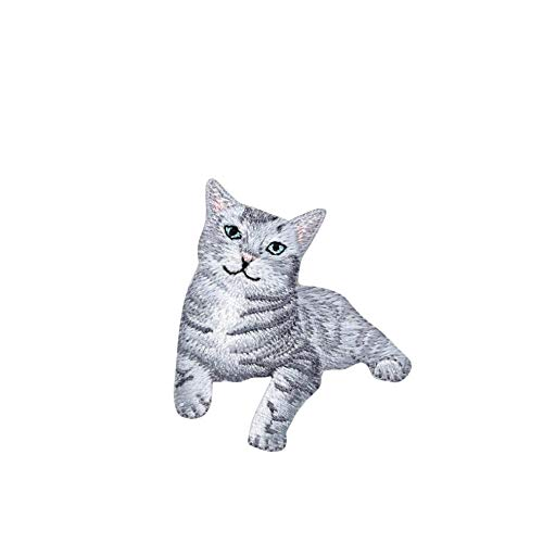 Gray Tabby Cat Iron on Embroidered Patch