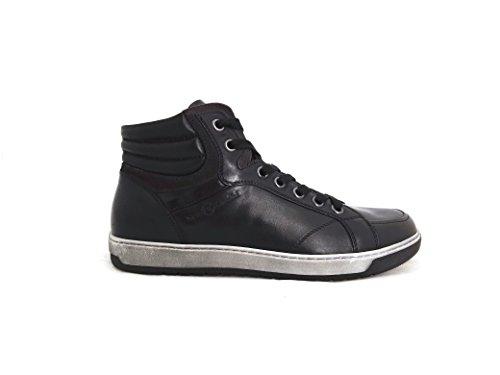 NeroGiardini A604370U/100 Sneakers a collo alto in pelle e camoscio