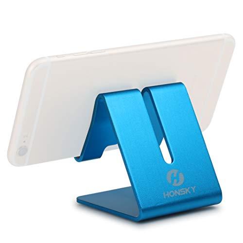 Desktop Holder Stand (Honsky Solid Portable Universal Aluminum Desktop Desk Stand Hands-free Mobile Smart Cell Phone Holder Tablet Display Stand, Cellphone Stand, Smartphone Mount Cradle, Blue)