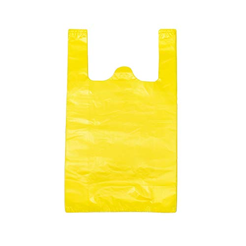 LazyMe 12 x 20 inch Plastic Thick Yellow T Shirt Bags, Handle Shopping Bags, Multi-Use Large Size Merchandise Bags, Yellow Plain Grocery Bags, Durable (100, Yellow) ()