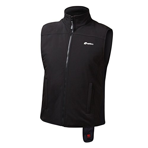 (VentureHeat Quad-Zone Heated Soft Shell Motorcycle Vest (Black, Large))