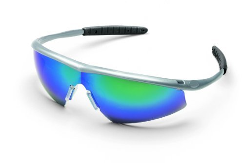 MCR TM14G Crews Tremor Safety Glasses Silver frame Emerald Mirror Lens, 1 Pair by MCR Safety by MCR Safety