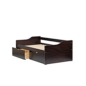 "100% Solid Wood Rio Twin Day Bed by Palace Imports, Java Color, 43.5""W x 27.5""H x 77""L. Optional Trundle, Drawers, Rail Guard Sold Separately. Requires Assembly"