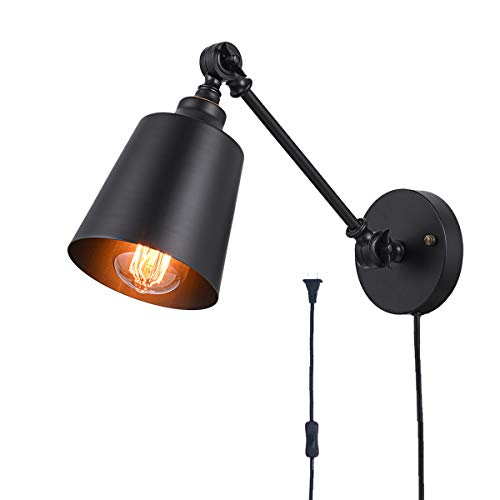 Plug-in Wall Light, Black Swing Arm Wall Mounted Lamp, The Adjustable Wall Light Fixture is Metal Wall Sconce for Bedroom Living Room.