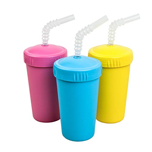 Re-Play Made in USA 3pk Straw Cups with Reversable Straw for Easy Baby, Toddler, Child Feeding - Bright Pink, Sky Blue, Yellow (Easter)