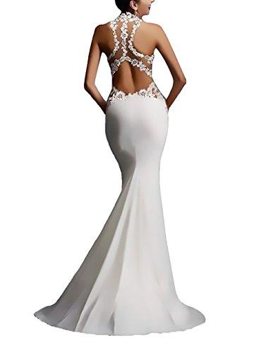 Festa Da Pacchetto Schienale Lungo Da Bianco Cerimonia Elegante Donna Sposa Senza Hip Abito Moda Sirena Vestiti Abiti Smanicato Sera Pizzo Giuntura Vestito n8PTZxgTw