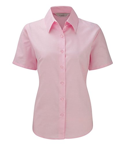 Russell Collection Womens Easycare Oxford Short Sleeve Shirt Classic Pink 5XL