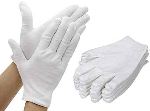 BAIF Working Gloves Cotton Gloves, Thickened Repairable Software Security Gloves for Inspection, Kitchen, Outdoor, 12 Pairs (White)
