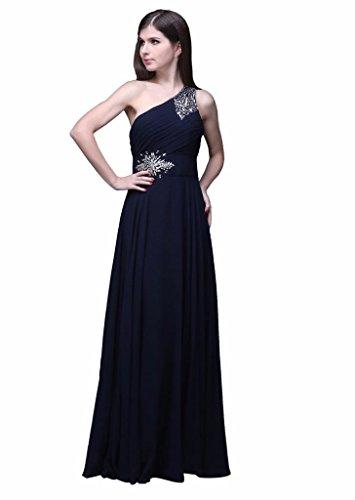 Abend Kleid formalen Dunkelblau eine Beaded prom Damen Kleid Schulter Edaier Chiffon aHBZBx