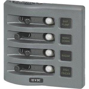 Blue Sea Systems Circuit Breaker Panel, 4 4374 (Circuit Weatherdeck Panel Breaker)