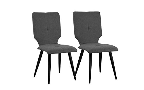 2 Pice Set of Linen Fabric Upholstered Kitchen Dining Chairs (Dark Grey)