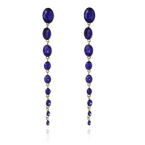 Oval Raining Drops Long Dangle Post Gala Earrings in Blue (Gold Hematite Earrings)