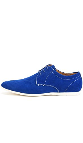 in Cobalto Derbies Perm Shoes a Reservoir Punta Uomo Velluto Rotonda Blu RFBfExnw