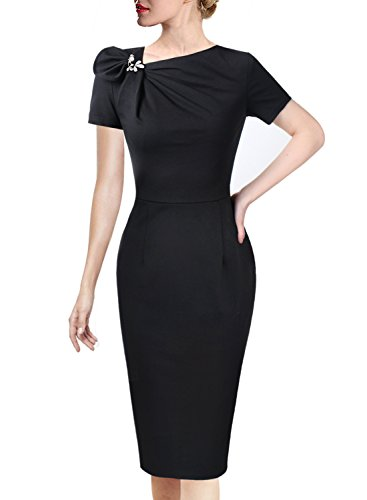 (VFSHOW Womens Pleated Asymmetric Bow Neck Work Cocktail Party Sheath Dress 458 BLK L)
